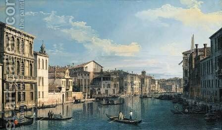 Venice The Grand Canal from Palazzo Flangini to the Church of San Marcuola 2 by (Giovanni Antonio Canal) Canaletto - Reproduction Oil Painting