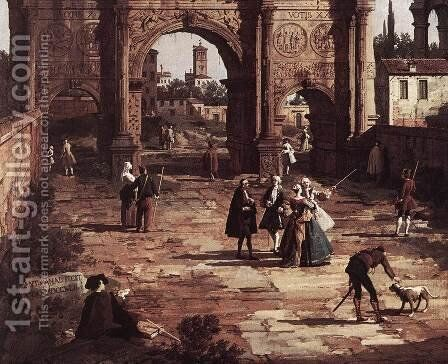 Rome The Arch of Constantine (detail) by (Giovanni Antonio Canal) Canaletto - Reproduction Oil Painting