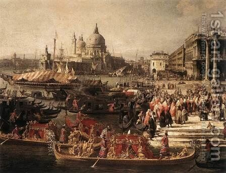 Arrival of the French Ambassador in Venice (detail) by (Giovanni Antonio Canal) Canaletto - Reproduction Oil Painting