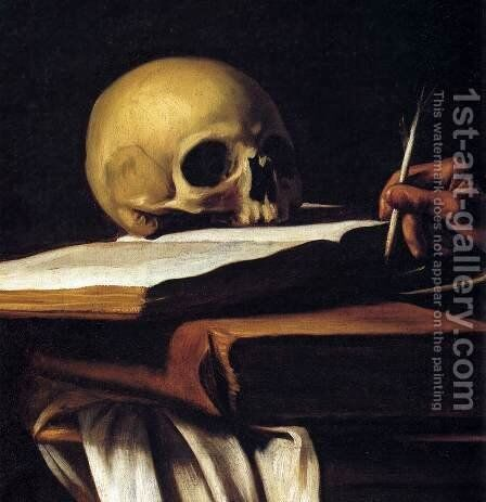 St Jerome (detail) by Caravaggio - Reproduction Oil Painting