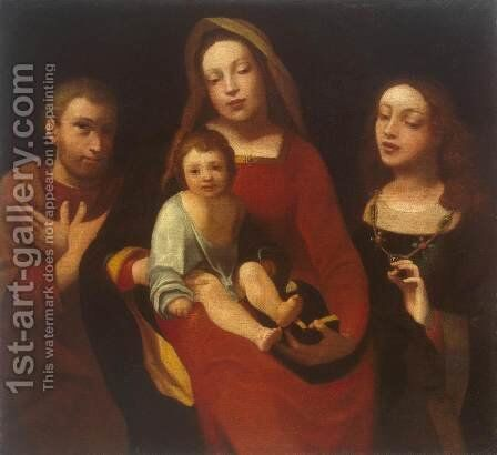 Madonna and Child with Sts Francis and Catherine by Giovanni Francesco Caroto - Reproduction Oil Painting