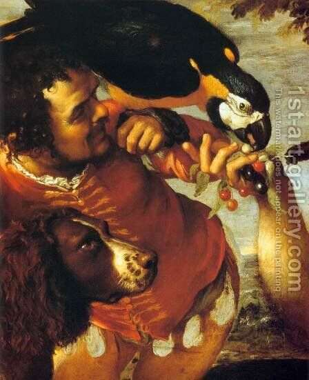 Hairy Harry, Mad Peter and Tiny Amon (detail) by Agostino Carracci - Reproduction Oil Painting