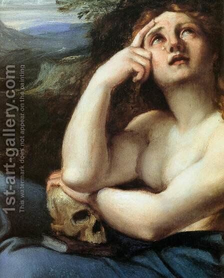 The Penitent Magdalen in a Landscape (detail) by Annibale Carracci - Reproduction Oil Painting
