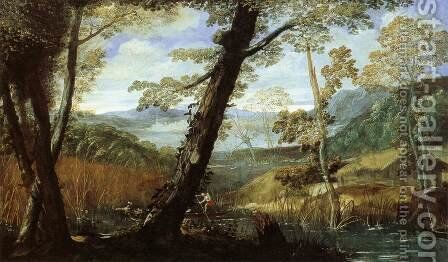 River Landscape 2 by Annibale Carracci - Reproduction Oil Painting
