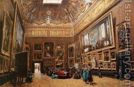View of the Grand Salon Carre in the Louvre by Giuseppe Castiglione - Reproduction Oil Painting