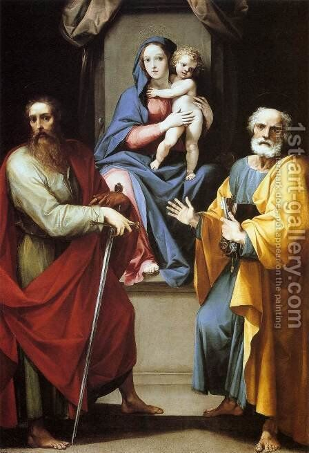 Madonna and Child with Sts. Peter and Paul by Giuseppe (d'Arpino) Cesari (Cavaliere) - Reproduction Oil Painting