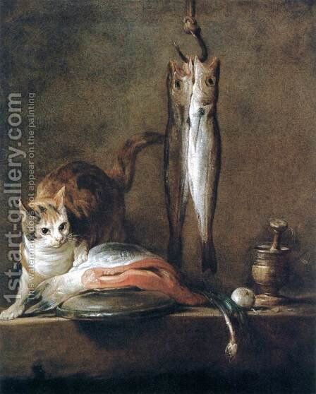 Still-Life with Cat and Fish by Jean-Baptiste-Simeon Chardin - Reproduction Oil Painting