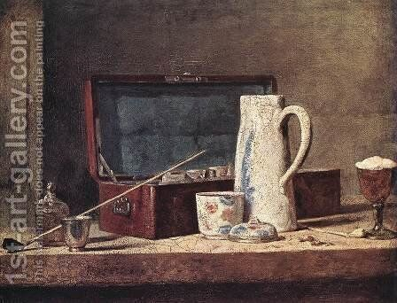 Still-Life with Pipe an Jug by Jean-Baptiste-Simeon Chardin - Reproduction Oil Painting