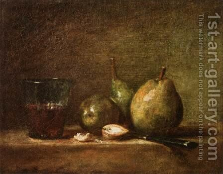Pears, Walnuts and Glass of Wine by Jean-Baptiste-Simeon Chardin - Reproduction Oil Painting
