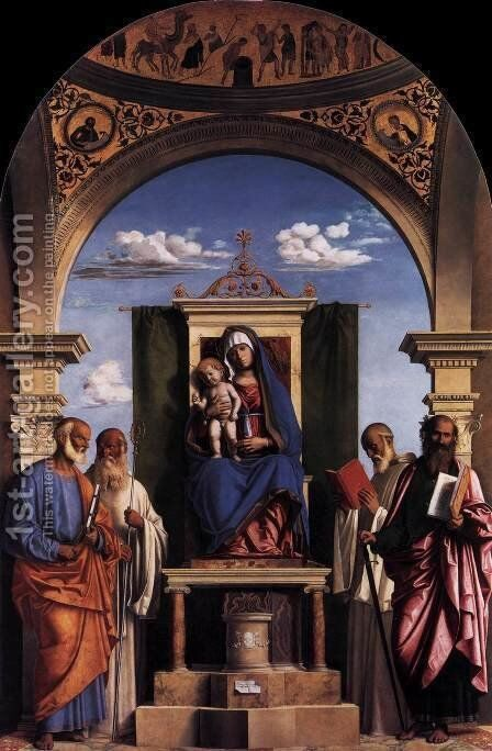 Madonna and Child Enthroned with Saints by Giovanni Battista Cima da Conegliano - Reproduction Oil Painting