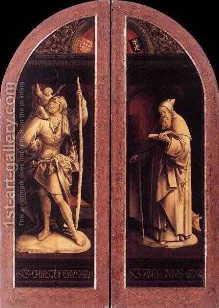 Sts Christopher and Anthony 2 by Jacob Cornelisz Van Oostsanen - Reproduction Oil Painting