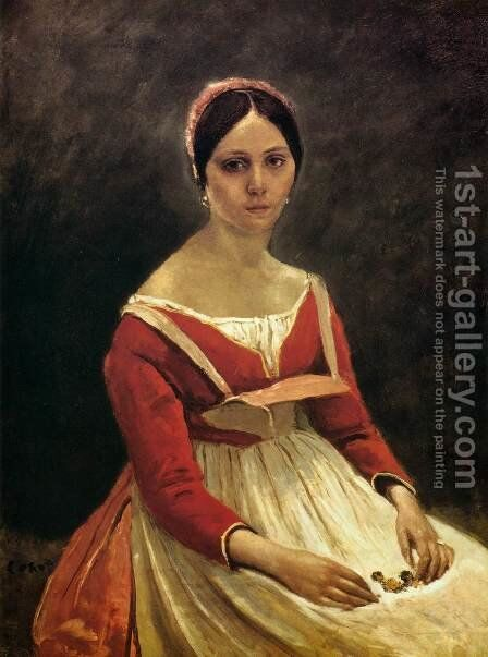 Young Woman (Madame Legois) by Jean-Baptiste-Camille Corot - Reproduction Oil Painting