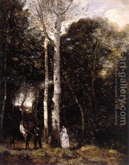 Promenade in the Parc des Lions at Port-Marly by Jean-Baptiste-Camille Corot - Reproduction Oil Painting