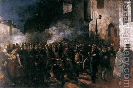 Firemen Running to a Fire by Gustave Courbet - Reproduction Oil Painting