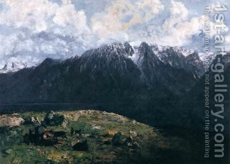 Panoramic View of the Alps, Les Dents du Midi by Gustave Courbet - Reproduction Oil Painting