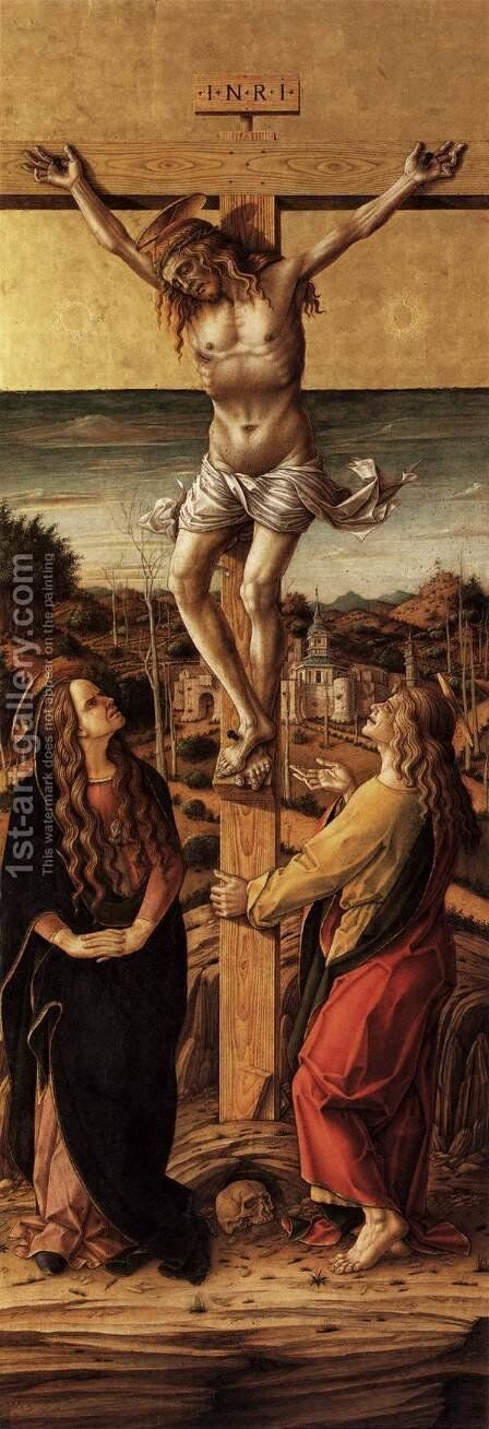 Crucifix with the Virgin and St John the Evangelist by Carlo Crivelli - Reproduction Oil Painting