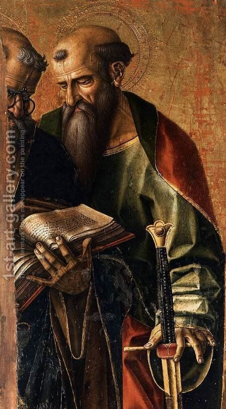 St Peter and St Paul (detail) by Carlo Crivelli - Reproduction Oil Painting