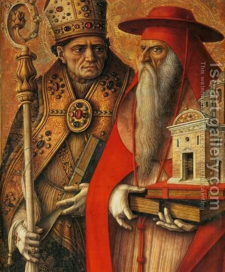 St Jerome and St Augustine (detail) by Carlo Crivelli - Reproduction Oil Painting