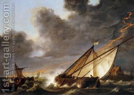 Ships Tossed in a Gale by Aelbert Cuyp - Reproduction Oil Painting