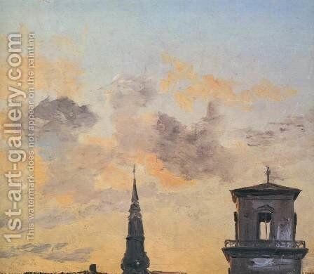 Two Belfries at Sunset, Copenhagen by Johan Christian Clausen Dahl - Reproduction Oil Painting