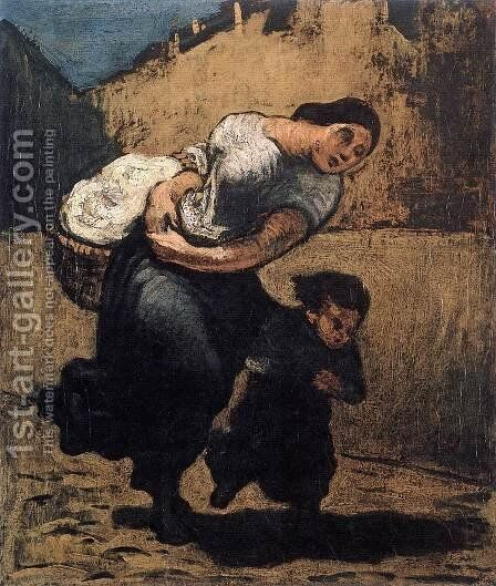 Load (Washerwoman) by Honoré Daumier - Reproduction Oil Painting