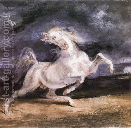 Horse Frightened by a Storm by Eugene Delacroix - Reproduction Oil Painting