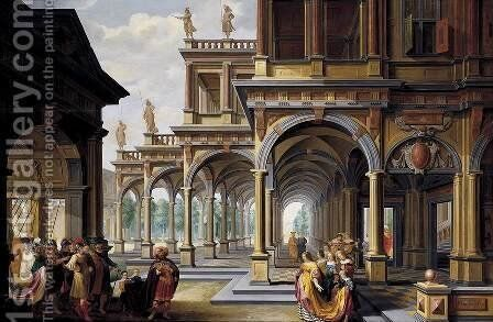 Architectural Capriccio with Jephthah and His Daughter by Dirck Van Delen - Reproduction Oil Painting