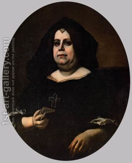 Portrait of Vittoria della Rovere in Widow's Weeds by Carlo Dolci - Reproduction Oil Painting