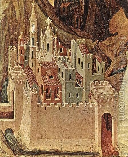 Temptation on the Mount (detail) by Duccio Di Buoninsegna - Reproduction Oil Painting