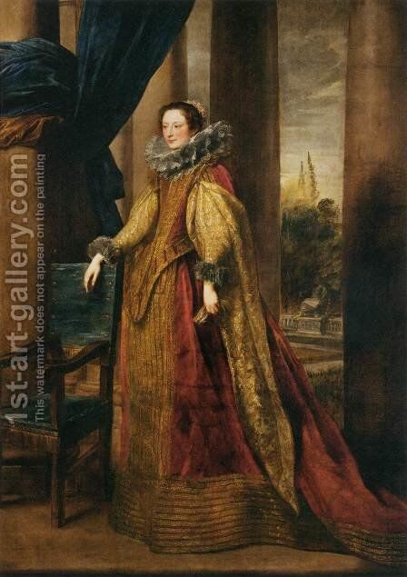 Portrait of a Noble Genoese Lady by Sir Anthony Van Dyck - Reproduction Oil Painting