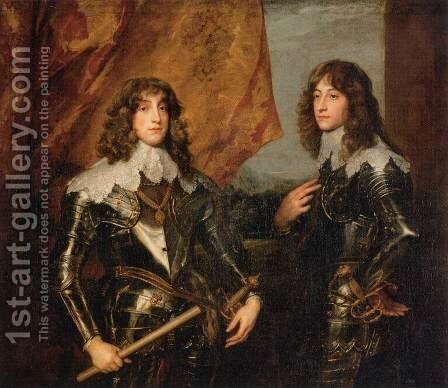 Portrait of the Princes Palatine Charles-Louis I and his Brother Robert by Sir Anthony Van Dyck - Reproduction Oil Painting