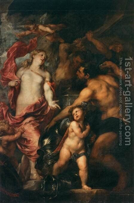 Venus Asks Vulcan to Cast Arms for her Son Aeneas by Sir Anthony Van Dyck - Reproduction Oil Painting