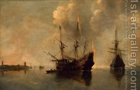 Two Ships at Anchor by Andries Van Eertvelt - Reproduction Oil Painting