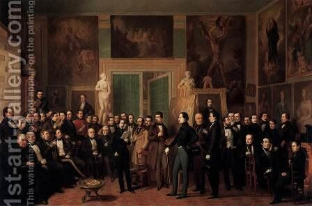 Meeting of Poets in the Artist's Studio by Antonio Maria Esquivel Suarez de Urbina - Reproduction Oil Painting