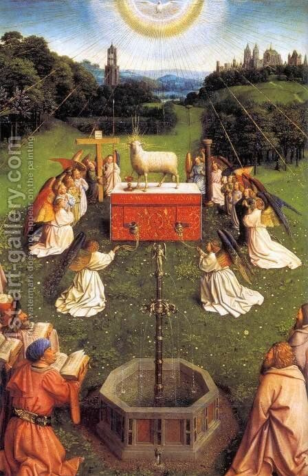 The Ghent Altarpiece Adoration of the Lamb (detail) 3 by Jan Van Eyck - Reproduction Oil Painting
