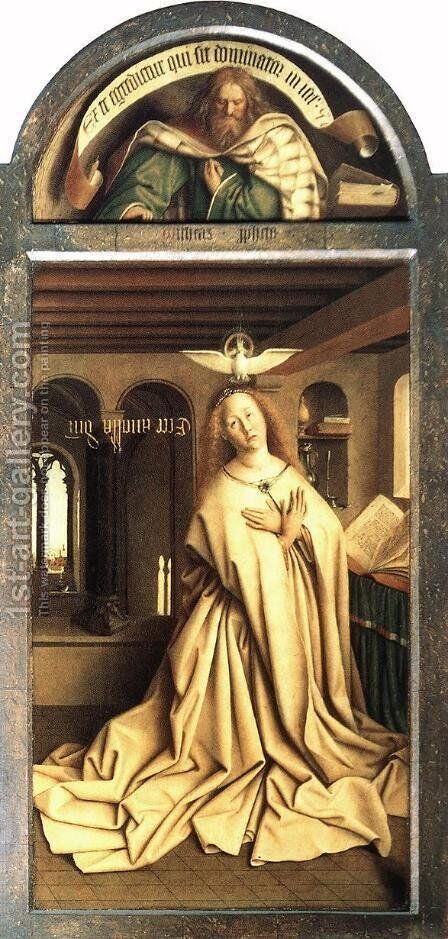 The Ghent Altarpiece Prophet Micheas; Mary of the Annunciation by Jan Van Eyck - Reproduction Oil Painting