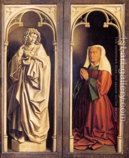 The Ghent Altarpiece St John the Evangelist and the Donor's Wife by Jan Van Eyck - Reproduction Oil Painting
