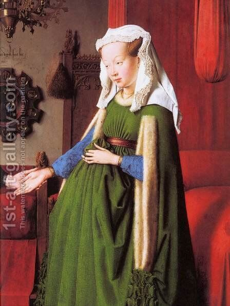 Portrait of Giovanni Arnolfini and his Wife (detail) by Jan Van Eyck - Reproduction Oil Painting