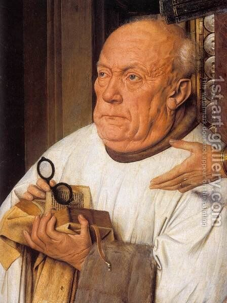 The Madonna with Canon van der Paele (detail) 2 by Jan Van Eyck - Reproduction Oil Painting