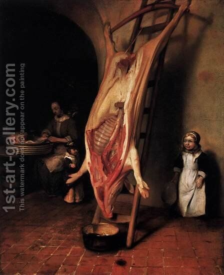 The Slaughtered Pig by Barent Fabritius - Reproduction Oil Painting