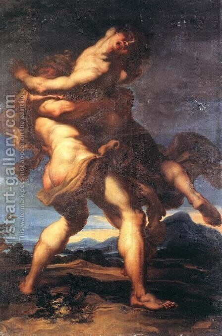 Hercules and Antaeus 2 by Gregorio de Ferrari - Reproduction Oil Painting