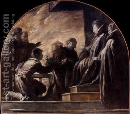 Margherita Gonzaga Receiving the Model of the Church of St Ursula by Domenico Feti - Reproduction Oil Painting