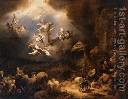 Angels Announcing the Birth of Christ to the Shepherds by Govert Teunisz. Flinck - Reproduction Oil Painting