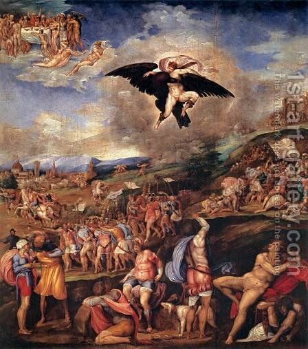 The Battle of Montemurlo and the Rape of Ganymede by Battista Franco - Reproduction Oil Painting