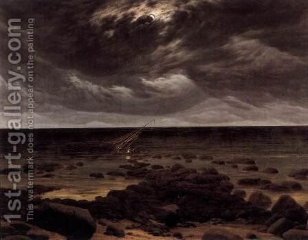 Seashore with Shipwreck by Moonlight 2 by Caspar David Friedrich - Reproduction Oil Painting