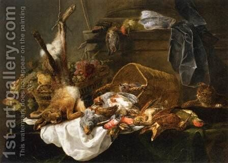Venison and Basket of Grapes Watched by a Cat by Jan Fyt - Reproduction Oil Painting