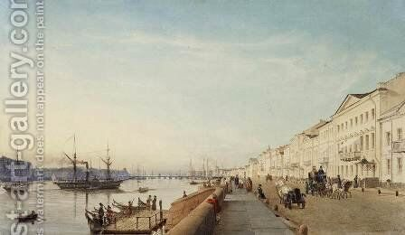 English Embankment in Petersburg by Eduard Gaertner - Reproduction Oil Painting