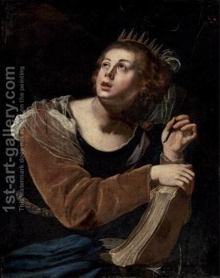 St Catherine of Alexandria 2 by Artemisia Gentileschi - Reproduction Oil Painting