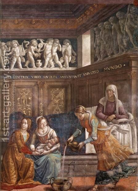 Birth of Mary (detail) by Domenico Ghirlandaio - Reproduction Oil Painting