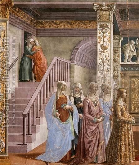 Birth of Mary (detail) 2 by Domenico Ghirlandaio - Reproduction Oil Painting